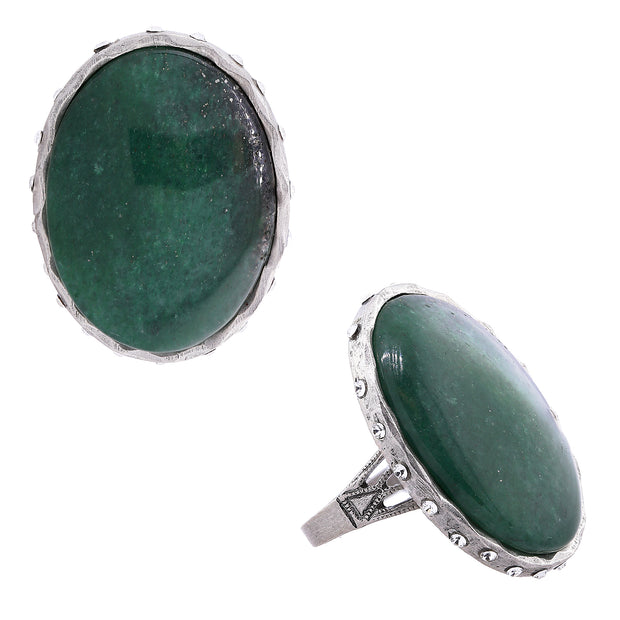 Semi Precious Green Aventurine Oval Ring W/Accent Swarovski Crystals