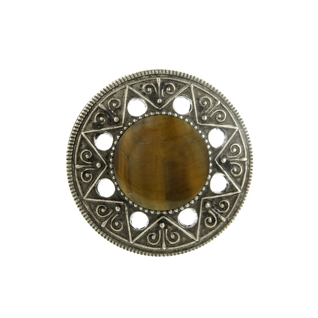 Aztec Mandala Gemstone Tiger S Eye Ring
