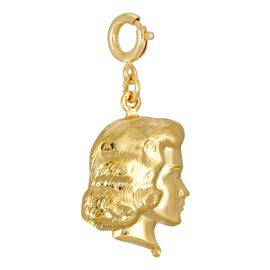 14K Gold Dipped Girl Head Charm