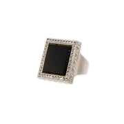 1928 Jewelry Silver Tone Gemstone Square Ring Size 7