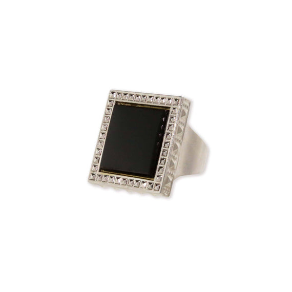 Silver Tone Black Onyx Semi Precious Square Ring