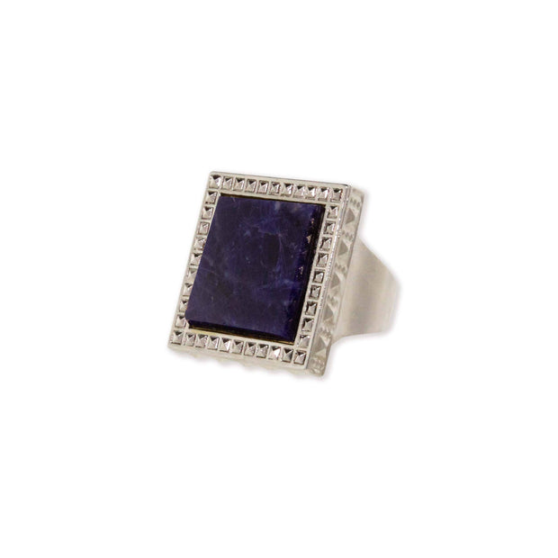 Silver Tone Blue Sodalite Gemstone Square Ring Size 8