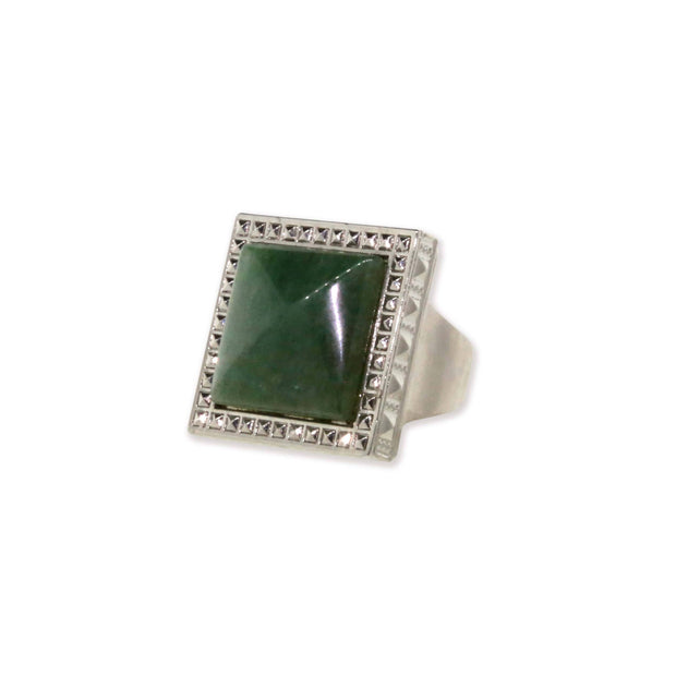 Silver Tone Green Aventurine Gemstone Sq Ring Size 7