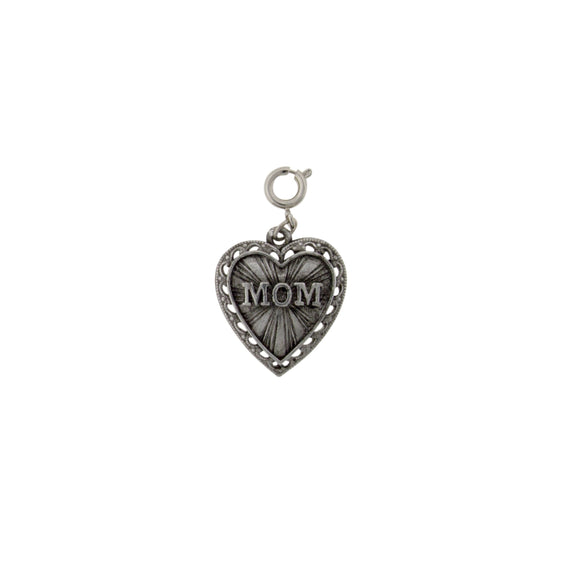 Pewter MOM Heart Charm
