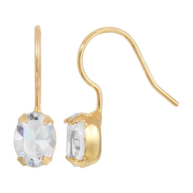 14K Gold Dipped Swarovski Crystal Oval Wire Earrings