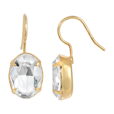 1928 Jewelry 14K Gold Dipped Crystal Oval Drop Earrings