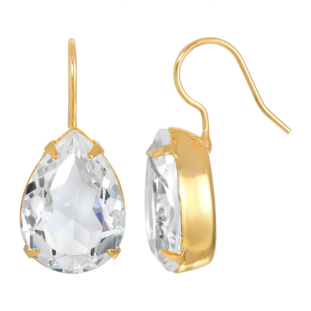 14K Gold Dipped Swarovski Crystal Element Teardrop Earrings