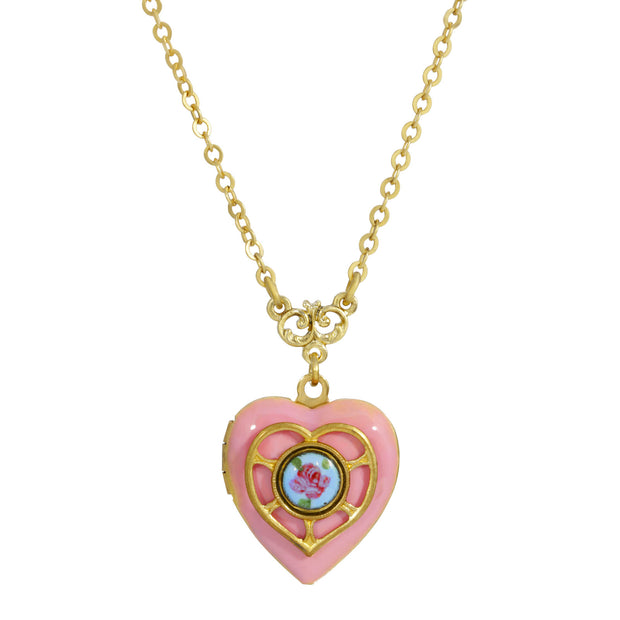Pink Blue Enameled Heart & Floral Decal Locket Necklace