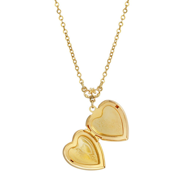 Open 1928 Jewelry 14K Gold Dipped Enameled Heart & Floral Decal Locket Necklace