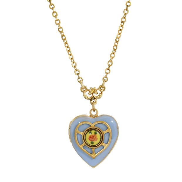 Light Blue Enameled Heart & Floral Decal Locket Necklace