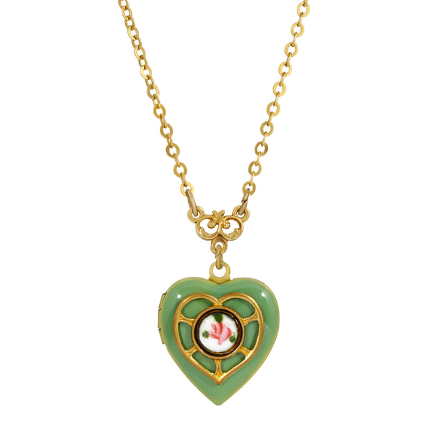 Light Green Blue Enameled Heart & Floral Decal Locket Necklace