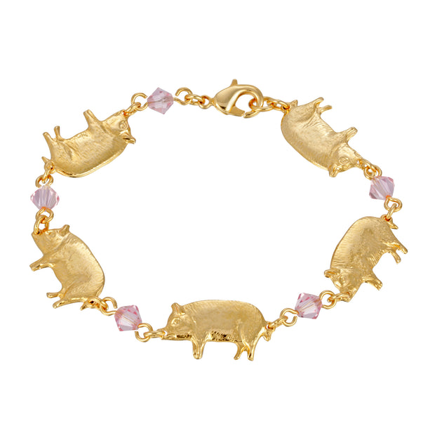14K Gold Dipped Pigs with Light Rose Bead Link Bracelet