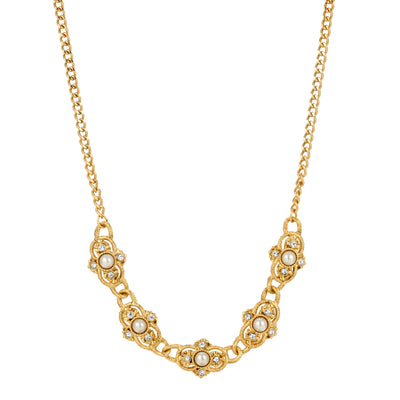 14K Gold Dipped Cultura Pearl Collar Necklace