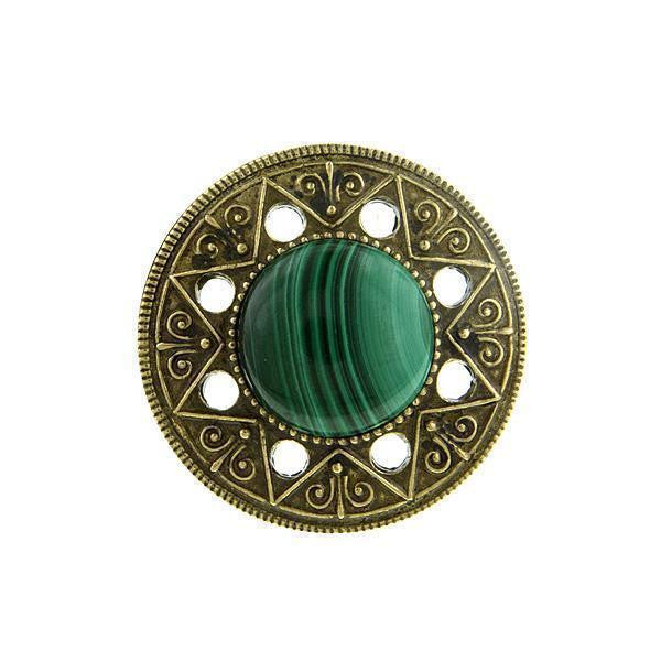 Aztec Mandala Gemstone Green Malachite Ring Size 8
