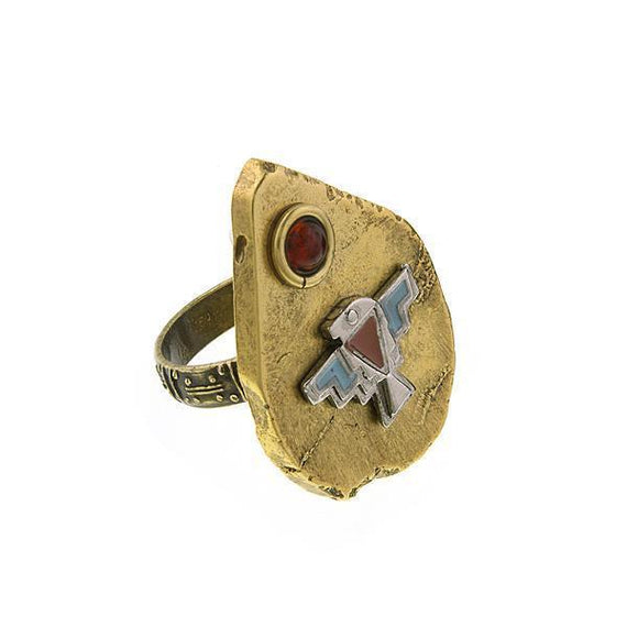 Thunderbird on Brass-Tone Arrowhead Accented with Amber Color Stone Ring Size 8