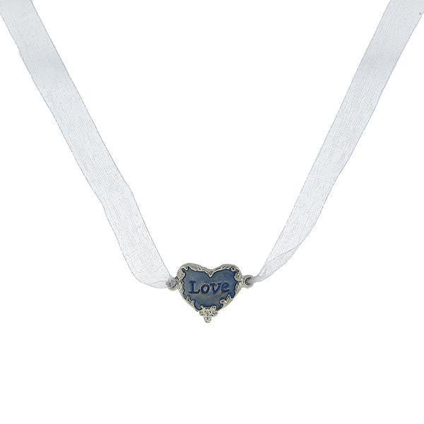 Silver-Tone Blue  Love  Heart Bridal Bouquet Heart