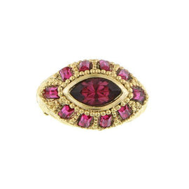 1928 Jewelry: 14K Gold Dipped Swarovski Amethyst Color and Fuchsia Ring Size 8
