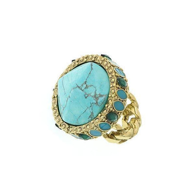 Gold-Tone Green And Turquoise Color Round Ring Size 7