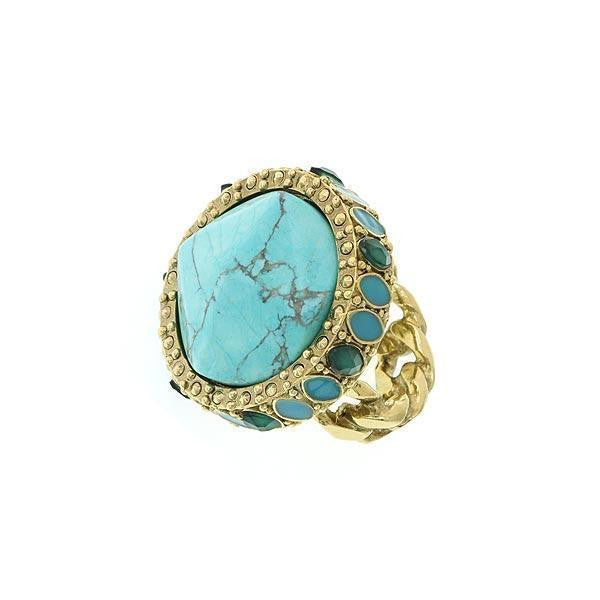 Gold Tone Green And Turquoise Color Round Ring Size 7