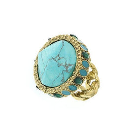 Gold-Tone Green and Turquoise Color Round Ring Size 8
