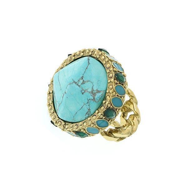 Gold Tone Green And Turquoise Color Round Ring Size 8