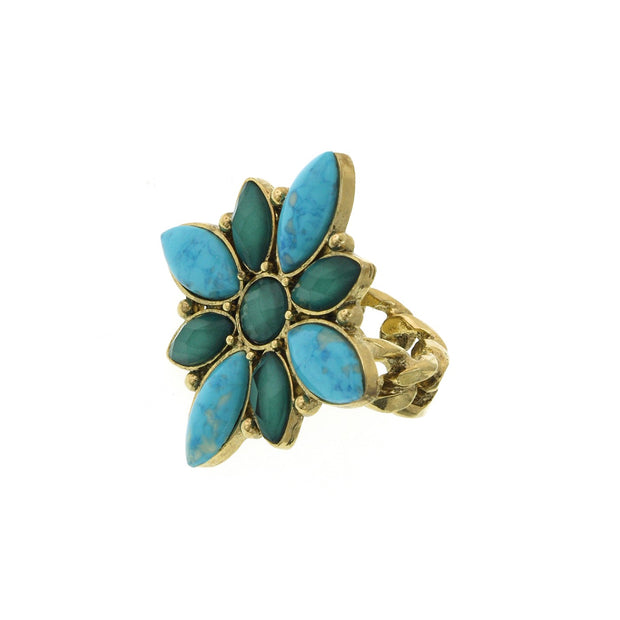 2028 Jewelry Gold-Tone Green And Turquoise Color Marquise Medallion Ring Size 7