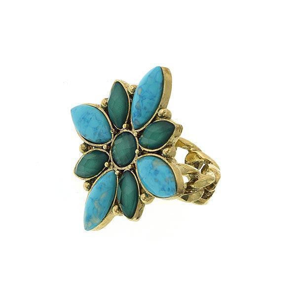 Gold-Tone Green And Turquoise Color Marquise Medallion Ring Size 8
