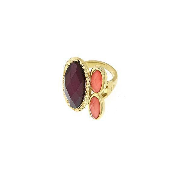Gold-Tone Raspberry/Peach Ring Size 7