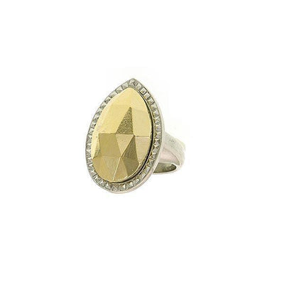 Silver Tone Gold Teardrop Ring Size 8