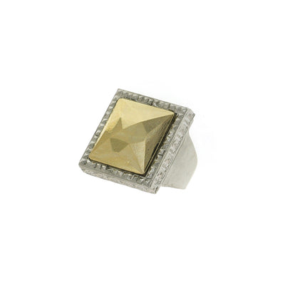 Silver-Tone Square 14K Gold Dipped Ring