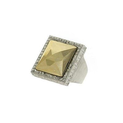 Silver-Tone Square Gold Stone Ring Size 8