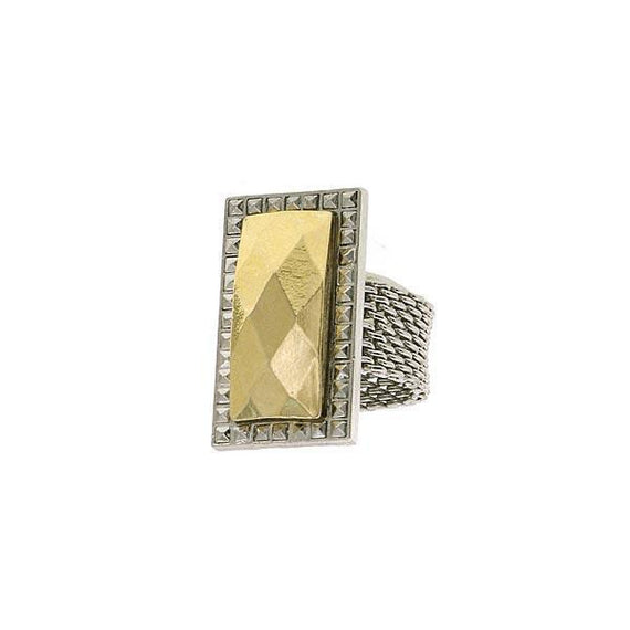 Silver- Tone and Gold-Tone Mesh Ring Size 7