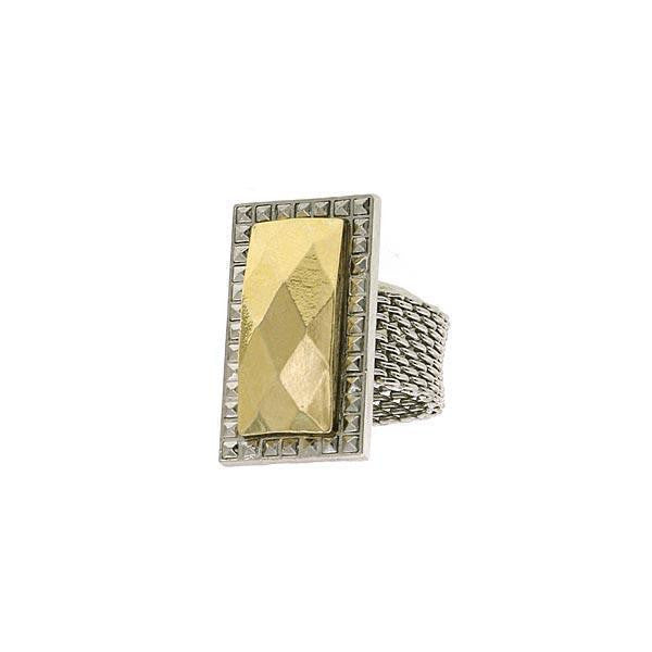 Silver  Tone And Gold Tone Mesh Ring Size 7