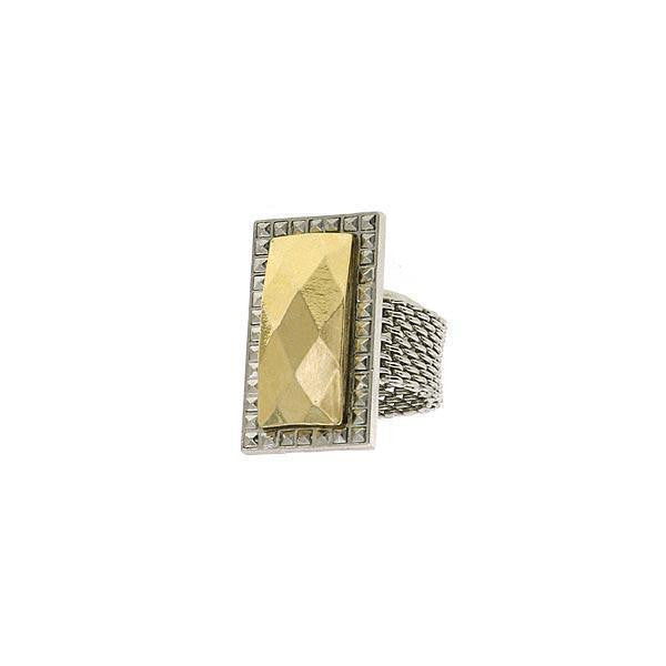 Silver-Tone and Gold-Tone Mesh Ring Size 8