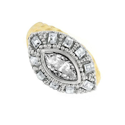 Gold-Tone Crystal Dome Ring Size 7