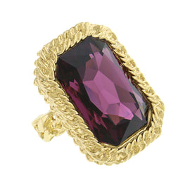 14K Gold Dipped Swarovski Amethyst Color Ring Size 7