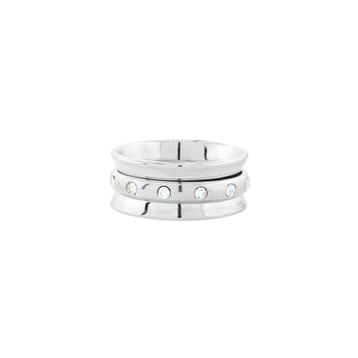 Silver-Tone Crystal Spinner Ring