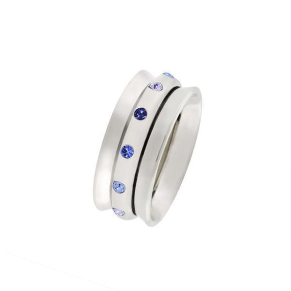 Silver-Tone Tonal Blue Crystal Spinner Ring Women s Size 8