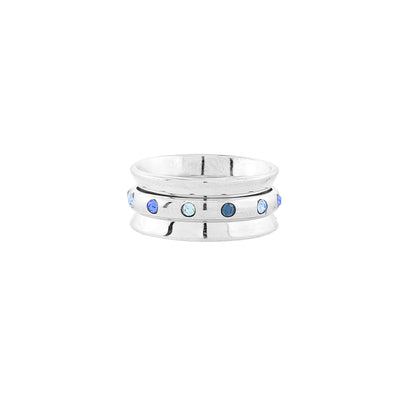 Silver-Tone Tonal Blue Crystal Spinner Ring Women