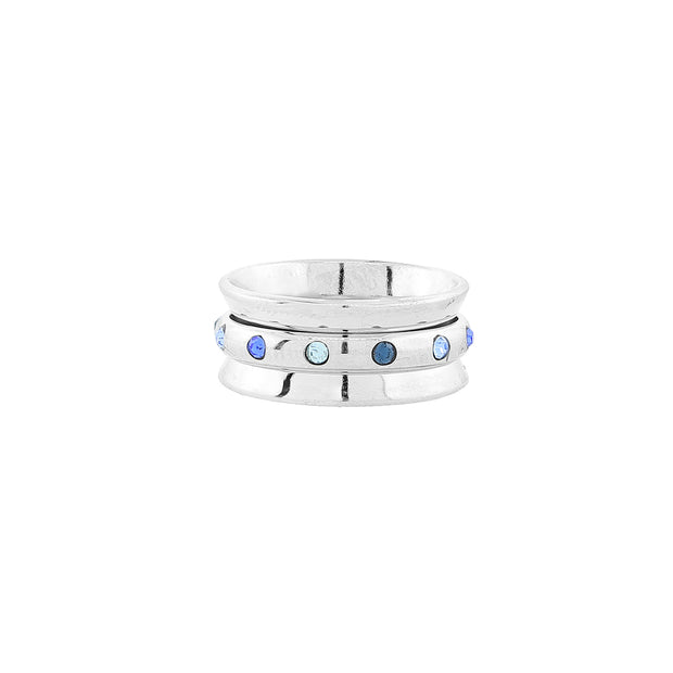 Silver Tone Tonal Blue Crystal Spinner Ring Women