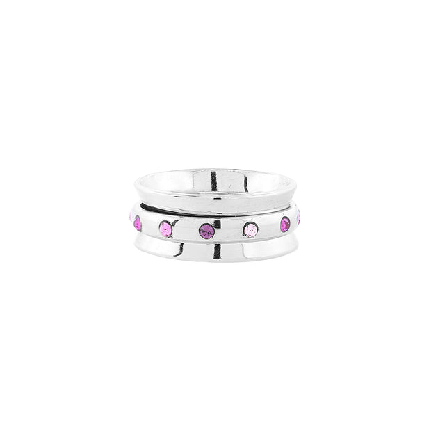 Silver Tone Pink Crystal Spinner Ring