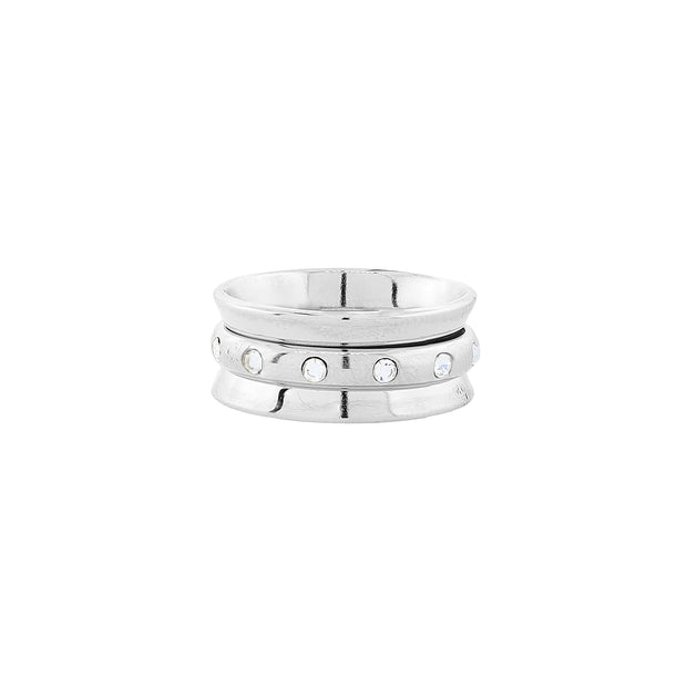 Silver Tone Crystal Spinner Ring