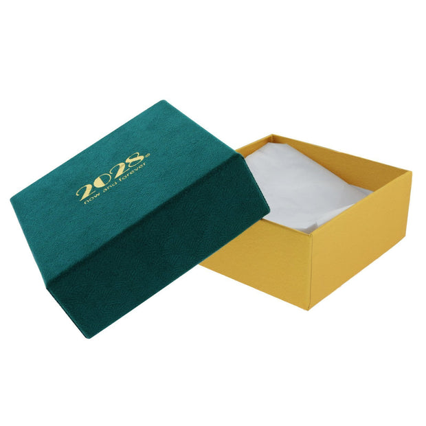 Gold and Blue Green Faux Velvet Textured Gift Box