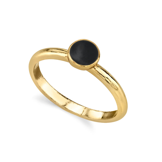 14K Gold Dipped Round Enamel Dainty Ring Size 7