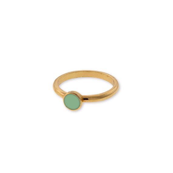 14K Gold Dipped Small Round Green Enamel Ring Size 7