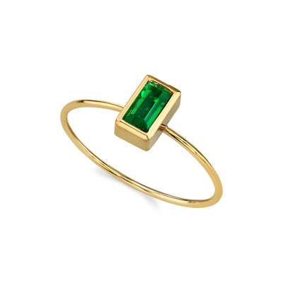 14K Gold Dipped Rectangle Crystal Ring Size 7 Black