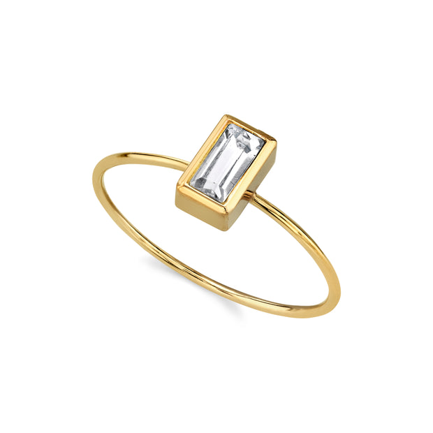 14K Gold Dipped Rectangle Crystal Delicate Dainty Ring Size 7