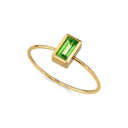 14K Gold Dipped Rectangle Crystal Ring Size 7 Pink