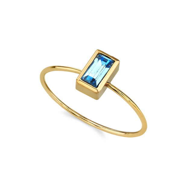 14K Gold Dipped Rectangle Crystal Ring Size 7 Green