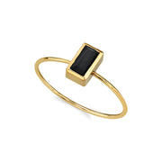 14K Gold Dipped Rectangle Crystal Ring Size 7 Light Green